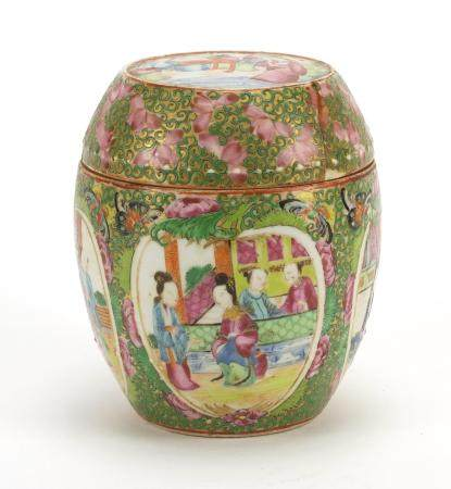 Chinese porcelain jar and cover, hand painted with panels of figures amongst butterflies and