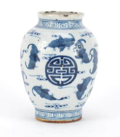 Chinese blue and white porcelain vase, hand painted with bats amongst Shou characters, six figure