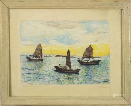 RT Beauwish - Samsons in Hong Kong Harbour, Chinese watercolour of Junks , dated Eastbourne 1962,