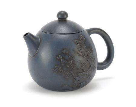 Chinese yixing terracotta teapot, relief decorated with a bonsai tree, 10cm high : For Further