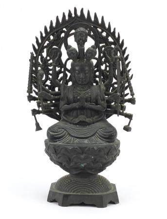 Tibetan bronzed figure of a Buddha, 37cm high : For Further Condition Reports Please Visit Our