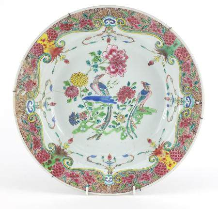 Chinese porcelain basin finely hand painted in the famille rose palette with birds of paradise