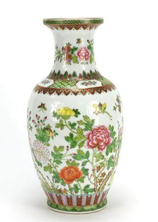 Chinese porcelain vase, hand painted with butterflies and flowers, 36cm high : For Further Condition