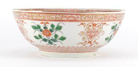 Chinese porcelain bowl, hand painted with flowers, 25.5cm in diameter : For Further Condition