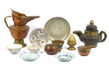 A collection of Tibetan metal ware and Chinese porcelain