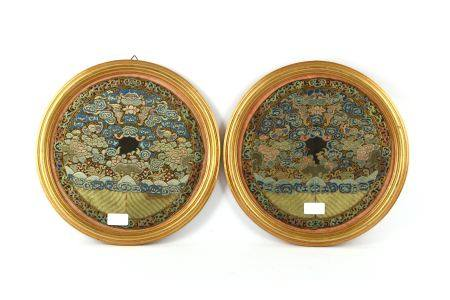 A pair of Chinese Kesi silk roundels, 19th Century,
