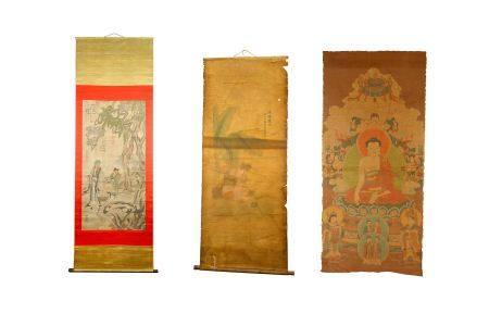 Three Chinese Scrolls to include a Thangka
