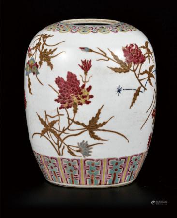胭脂红菊纹茶叶罐