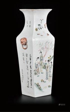 浅降彩人物四方铺首瓶(赠送礼品)