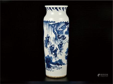 青花人物筒瓶