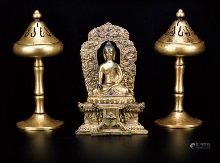 铜鎏金释迦牟尼/铜鎏金博山炉  一组3件