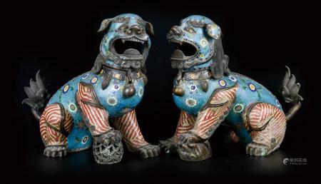 铜胎景泰蓝狮子  一对 早期购于天津