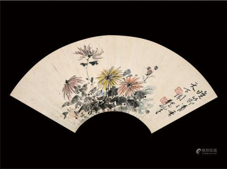 黄独峰款  花卉扇面  镜片