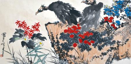潘天寿款  鹰石图  镜片