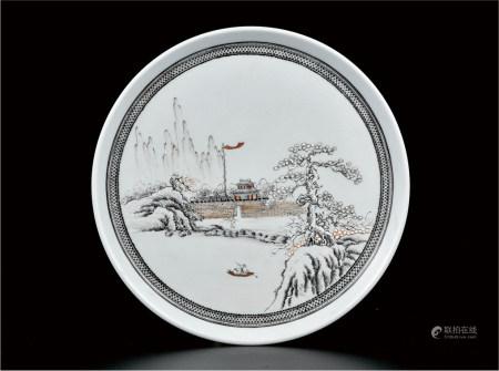 粉彩雪景茶盘