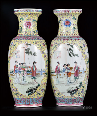 重工粉彩八美图瓶  一对  艺术瓷厂