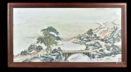 文革题材  江山如此多娇瓷板 包框
