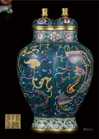 铜胎景泰蓝连体龙凤瓶  早期购于北京
