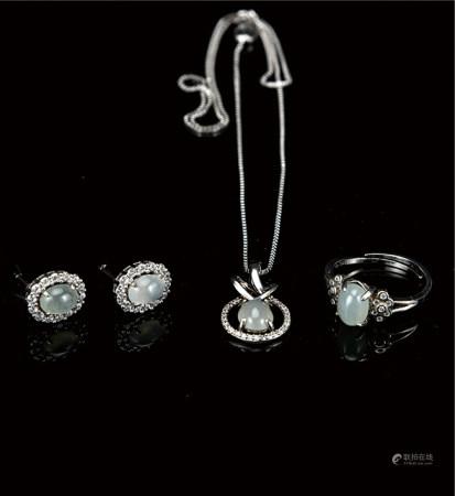 冰种翡翠镶银戒指/耳钉/吊坠项链 套装  附证书