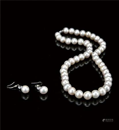 天然珍珠项链/耳环  套装  附证书