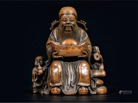 竹雕财神 武汉资深藏家提供