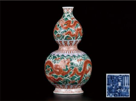 粉彩矾红龙纹葫芦瓶