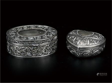 银錾刻洋莲纹心型首饰盒  一组2件