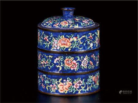 铜胎珐琅彩花卉纹多层食盒