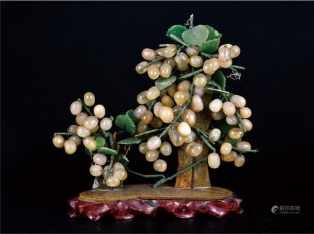 玉石葡萄摆件