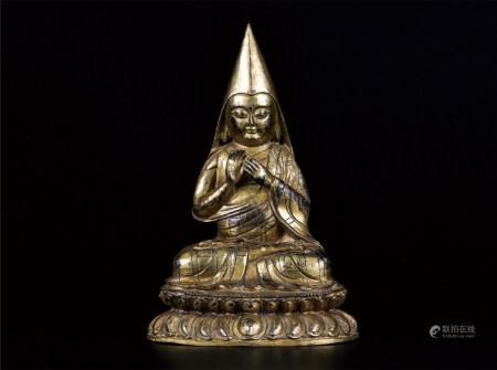 藏传铜鎏金佛
