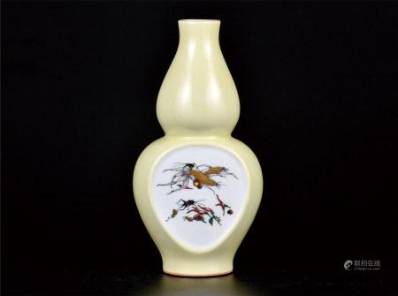 黄釉粉彩瓜果图葫芦瓶