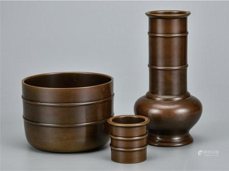 日本铜茶道具  一组3件