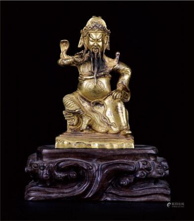 铜鎏金关公 配酸枝座  上海资深藏家提供 (赠送礼品)