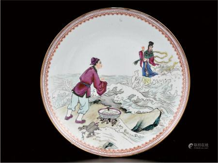 粉彩张羽煮海盘  艺术瓷厂