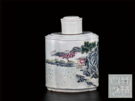 粉彩山水茶叶罐