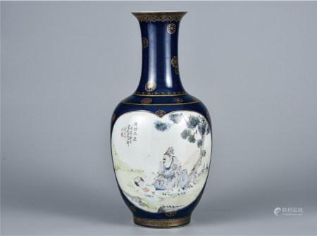 霁蓝釉地浅降彩陆羽品泉人物瓶
