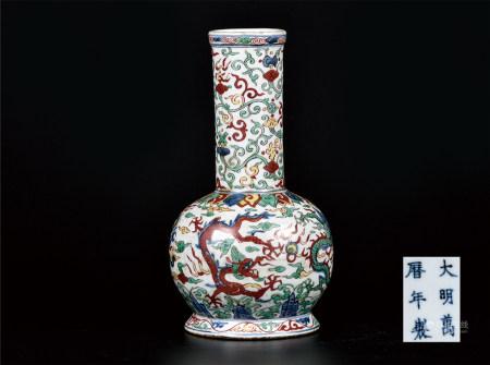 五彩龙纹长颈瓶