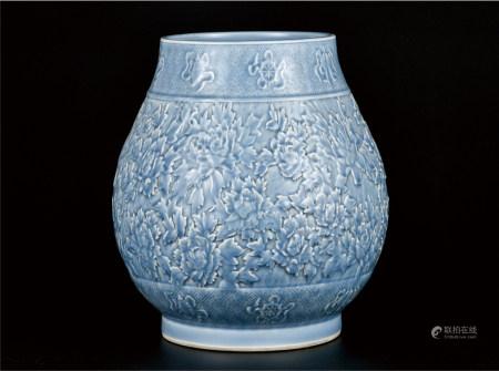 天晴蓝釉花开富贵尊