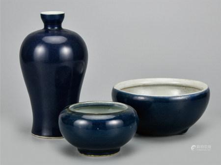 蓝釉瓷器  一组3件