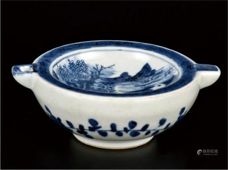青花山水孔明碗