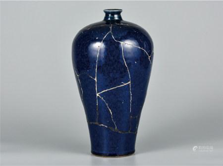 霁蓝釉梅瓶  修复