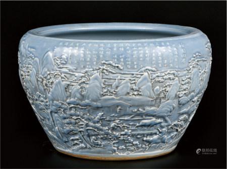 蓝釉雕瓷山水人物缸