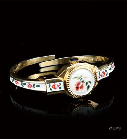 60-70年代  瑞士原装17钻镀金烧白色珐琅彩手镯表