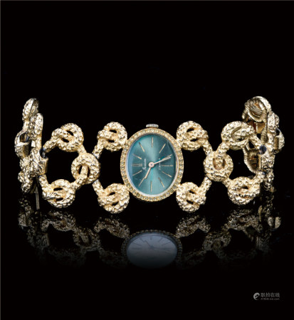 60-70年代  瑞士原装17钻镀金椭圆两针表