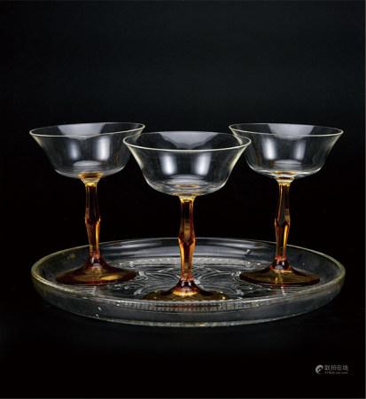 水晶高脚杯连盘  一组4件