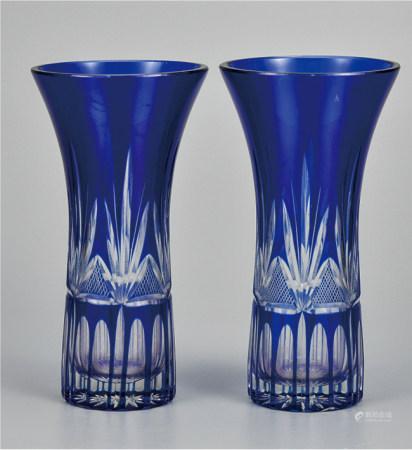 蓝水晶玻璃瓶  一对