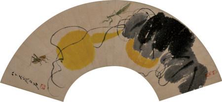 齐白石款  葫芦扇面  镜片