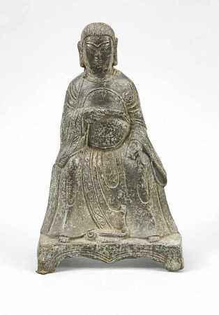 Buddha auf Thron, China, 19./20. Jh., Metallguss. Stand nicht ganz plan, leichtkorrodierte