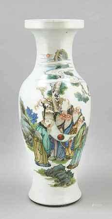 Bodenvase, China, Reppublik-Zeit. Polychrome Malerei mit 5 weisen, alten Männern einSymbol