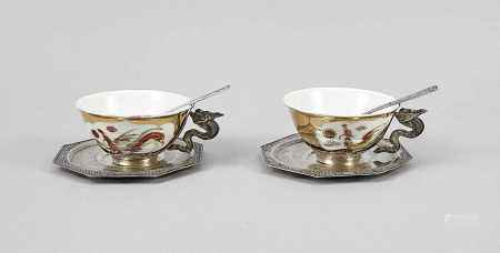 Two teacups with saucers, Vietnam, 20th century, marked Phu Loi, silver 900/000, suacer